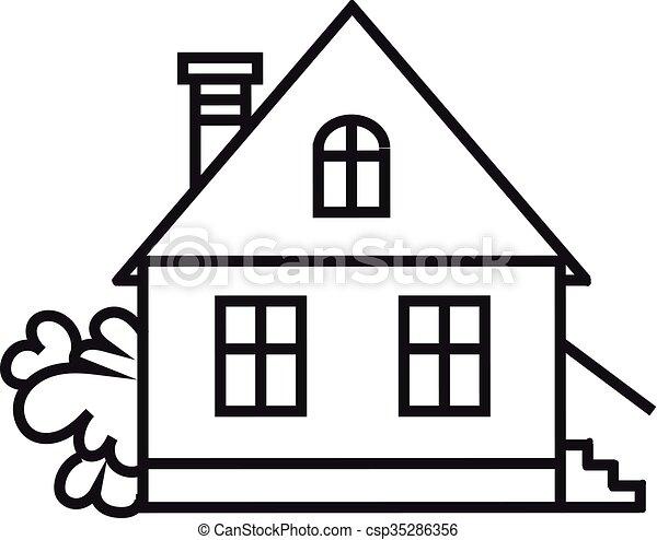 Habitation Sket Symbole House Maison Une