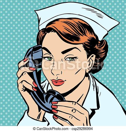 Enfermera Recepción, teléfono parlante - csp29286994