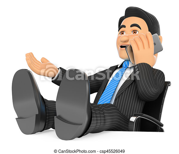 Empresario de 3D hablando por teléfono móvil con los pies en alto - csp45526049