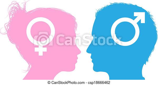 Hablar Mujer Cabezas Hombre Mujer Cabezas Iconos Símbolo