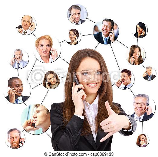 hablar, teléfono, grupo, gente - csp6869133
