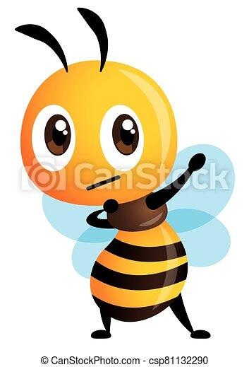 hacha, elaboración, postura, lindo, gesto, abeja, popular, brazos, internet, vector, carácter, presentación, meme, caricatura, - - csp81132290