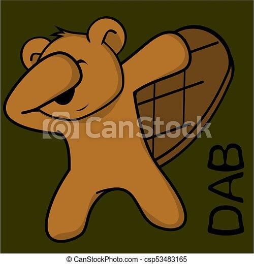 Un dibujo animado de niño castor - csp53483165