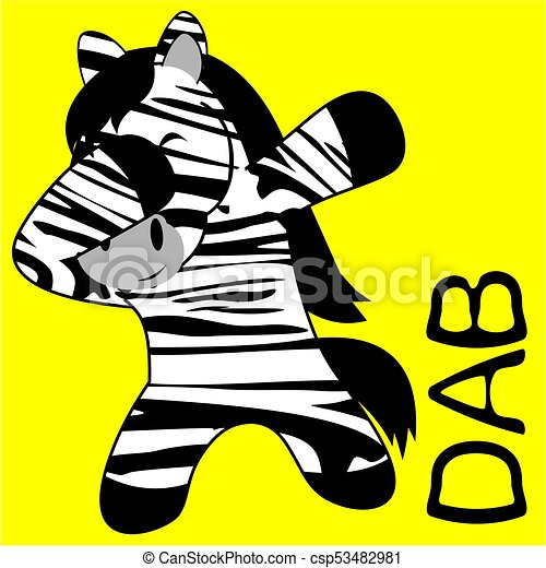Dab tabbing pose zebra kid dibujos animados - csp53482981