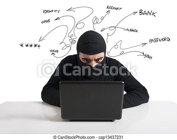 Hacker and computer virus concept - csp13437231
