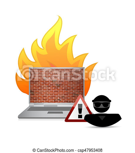 hacker and fire wall security warning - csp47953408