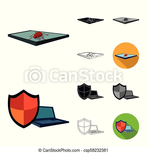 Hacker and hacking cartoon, black, flat, monochrome, outline icons in set collection for design. Hacker and equipment vector symbol stock web illustration. - csp58232381