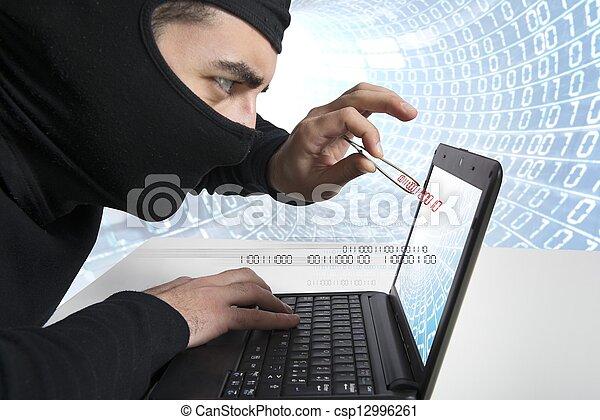 Hacker and virus concept - csp12996261