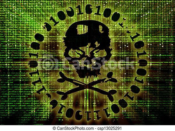 hacker attack concept cover illustration - csp13025291