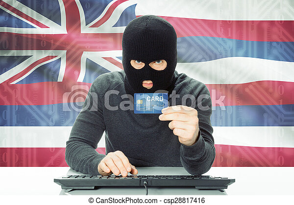 Alaska Credit Card Login >> Hacker holding credit card and usa state flag on ...