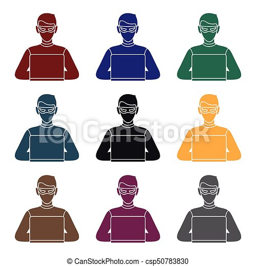 Hacker Icon In Black Style Isolated On White Background Crime Symbol Stock Vector Illustration Hacker Icon In Black Style