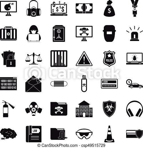 Hacker Icons Set Simple Style Hacker Icons Set Simple Style Of 36 Hacker Vector Icons For Web Isolated On White Background