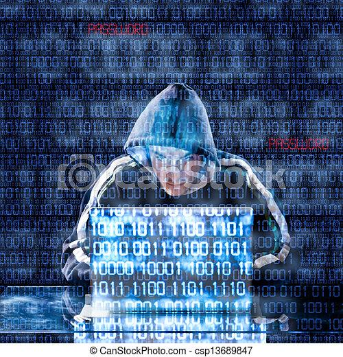 hacker, laptop, tippen - csp13689847