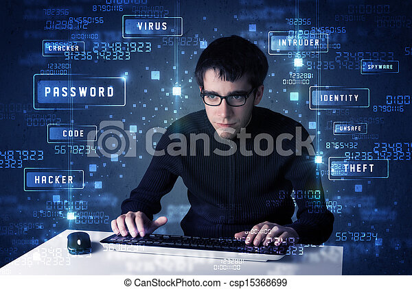 Hacker programing in technology enviroment with cyber icons  - csp15368699