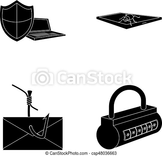 Hacker, system, connection  Hackers and hacking set collection icons in  black style vector symbol stock illustration web