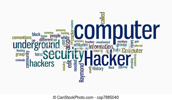 hacker, texto, computador, nuvens - csp7885040