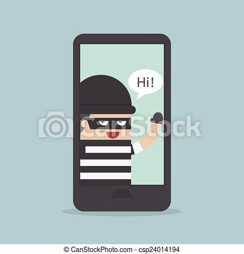 Hacker, Thief Hacking Smartphone, B - csp24014194