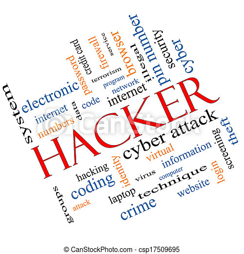 Hacker Word Cloud Concept Angled - csp17509695