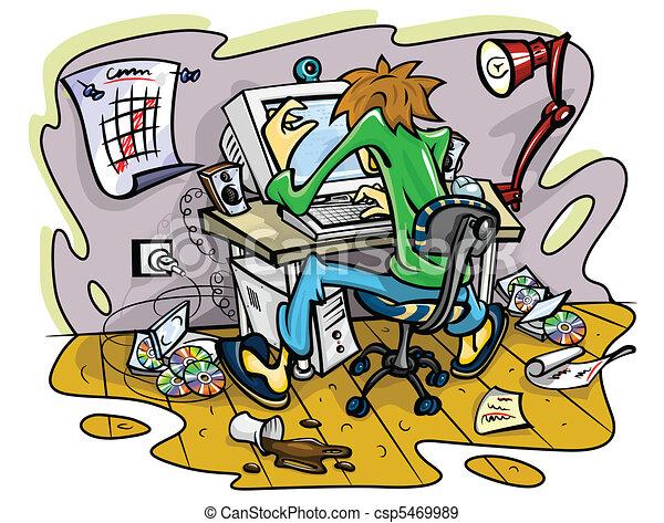 hacker working on computer in jumble room - csp5469989