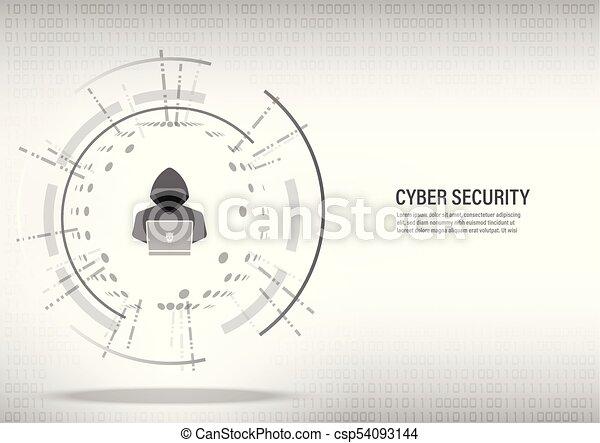 Hacker working on digital white background. - csp54093144