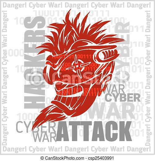 Hackers Attack - cyber war, sign on digital binary background. - csp25403991