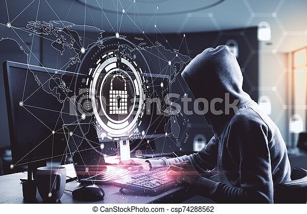 Hacking and antivirus concept - csp74288562
