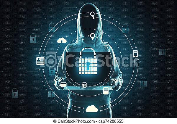 Hacking and antivirus concept - csp74288555