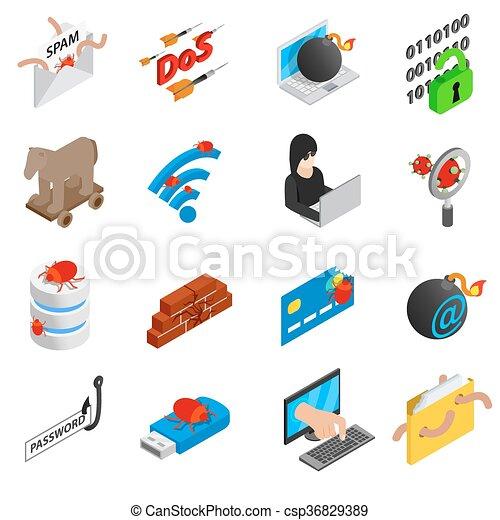 Hacking icons set, isometric 3d style - csp36829389