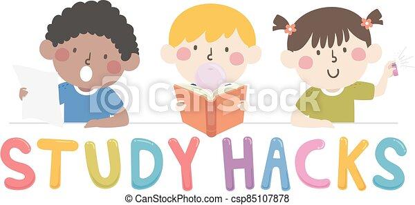 hacks, 子供, 勉強しなさい, イラスト - csp85107878