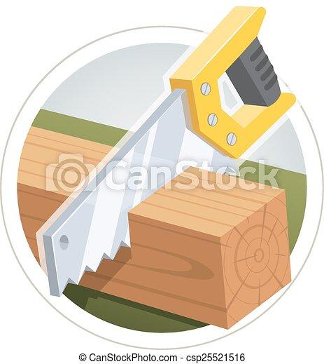 Hacksaw cut  wooden board - csp25521516