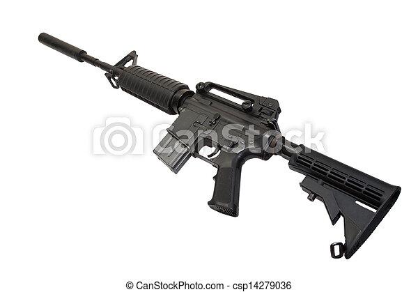 hadsereg, carbine, elszigetelt, bennünket, hangfogó, háttér, fehér - csp14279036