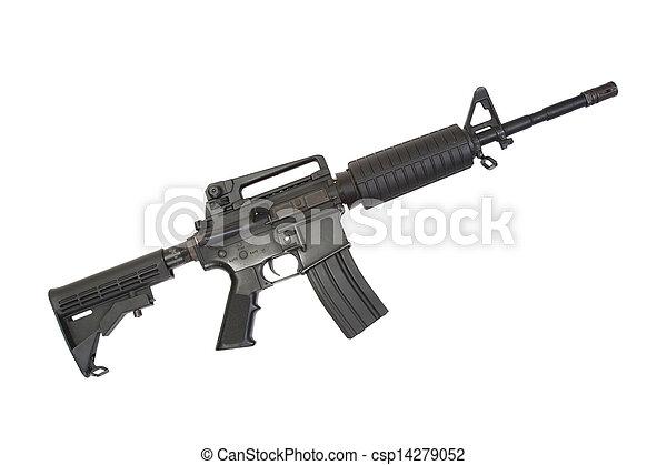 hadsereg, carbine, elszigetelt, bennünket, hangfogó, háttér, fehér - csp14279052