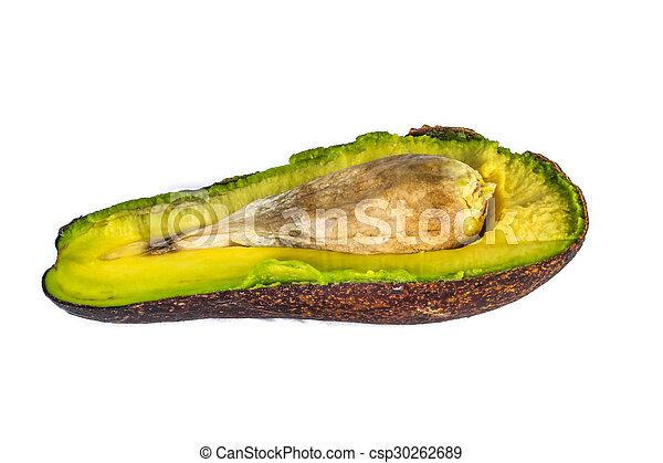 Haft of avocado over white background - csp30262689