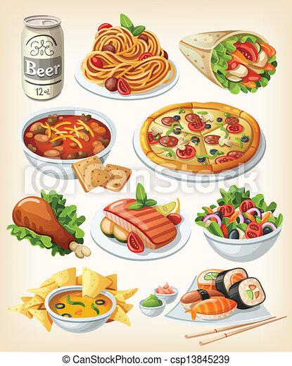 hagyományos, élelmiszer, állhatatos, icons. - csp13845239