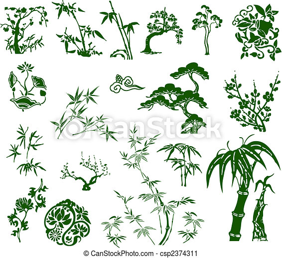 hagyományos, bambusz, klasszikus, kínai, tinta - csp2374311