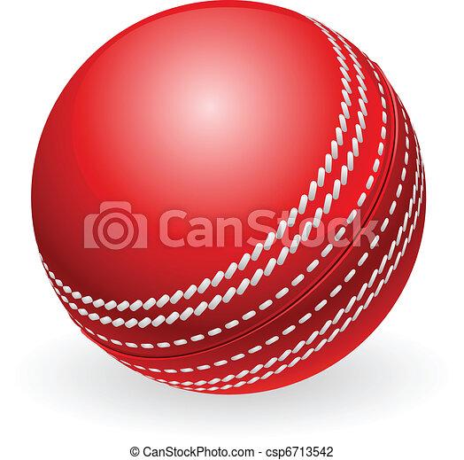 hagyományos, krikett labda, fényes, piros - csp6713542