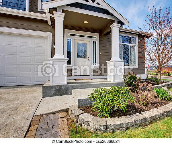 hagyományos, lawn., amerikai, kedves, otthon - csp28866824