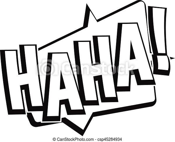 Line Art Effect Photo : Haha comic text sound effect icon simple style. vectors