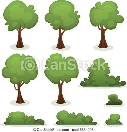 haies, buisson, arbres, ensemble - csp18834003