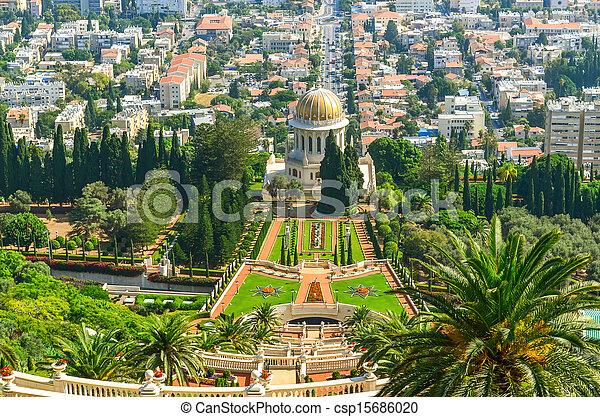 Una hermosa foto de los jardines bahai en Haifa Israel. - csp15686020