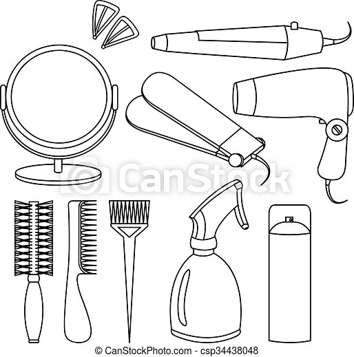 Hair Accessories And Barber Tools Line Icons