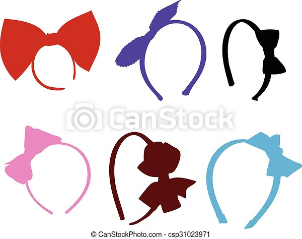 Hair Band Icons Set. Colorful Hair Band Hair Accessories Set Icons Illustration Line Art