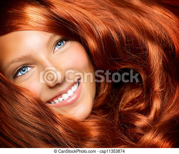 Hair. Beautiful Girl With Healthy Long Red Curly Hair  - csp11353874