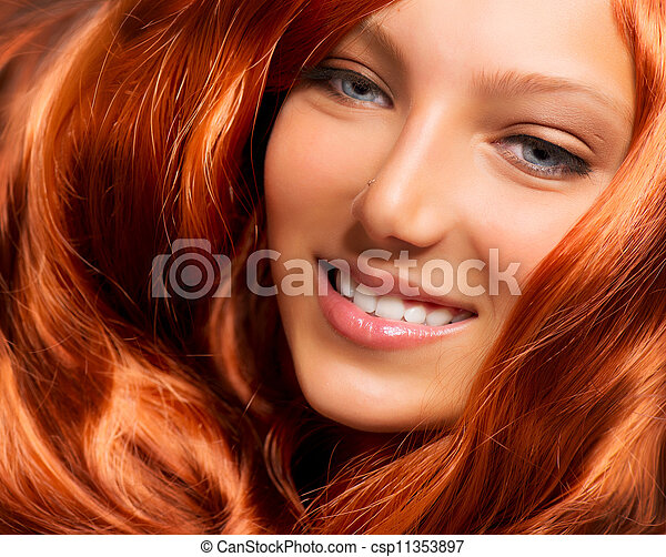 Hair. Beautiful Girl With Healthy Long Red Curly Hair - csp11353897