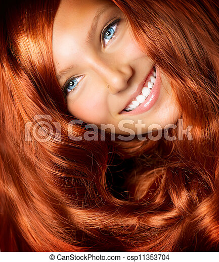 Hair. Beautiful Girl With Healthy Long Red Curly Hair - csp11353704
