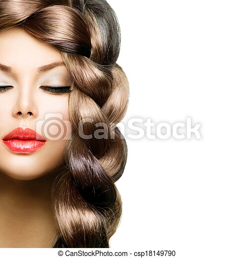 Hair Braid. Beautiful Model Woman with Healthy Long Brown Hair  - csp18149790