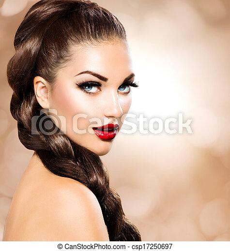 Hair Braid. Beautiful Woman with Healthy Long Brown Hair - csp17250697
