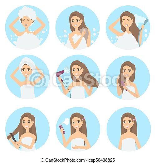 Hair Care Set Woman Washing Combing And Styling Care