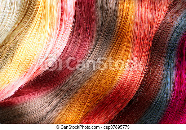 Hair colors palette. Dyed hair color samples - csp37895773