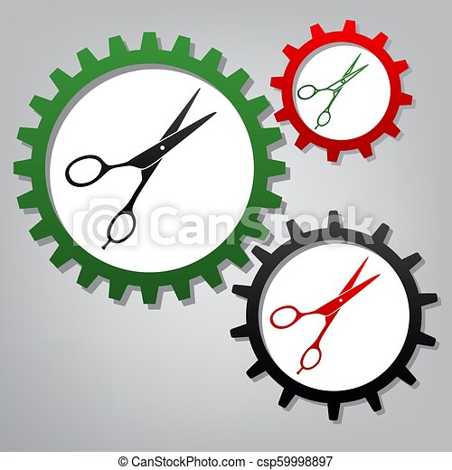 Hair cutting scissors sign. Vector. Three connected gears with i - csp59998897